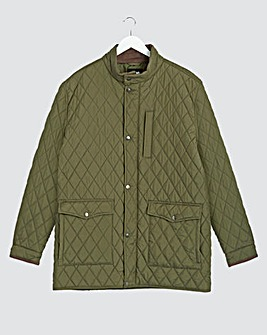 Olive Quilted Four Pocket Jacket Long