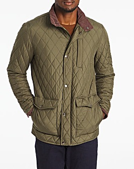 Olive Quilted Three Pocket Jacket Long