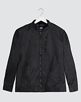 Black Waxed Biker Style Jacket