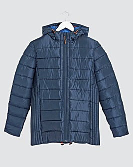 Navy Recycled Hooded Puffer Jacket