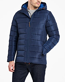 Navy Recycled Hooded Padded Puffer Jacket