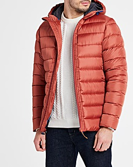 Red Recycled Hooded Padded Puffer Jacket