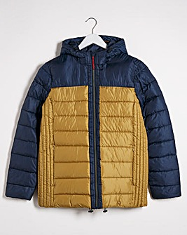 Navy/Tan Recycled Padded Puffer Jacket