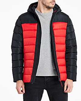 Black/Red Recycled Wadding Puffer Padded Jacket