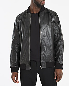 Black Leather Bomber Style Jacket
