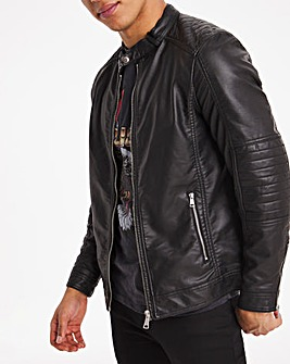 Black Faux Leather Racer Style Jacket