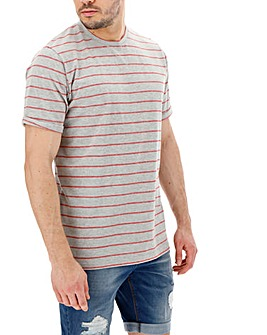 Grey/Red Crew Neck Stripe T-shirt Long