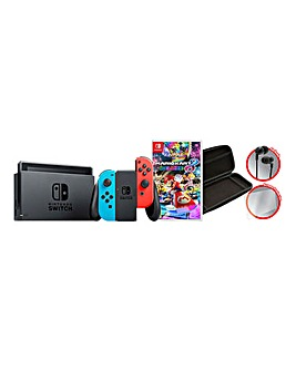 Nintendo Switch Neon + Mario Kart 8 + Starter Kit