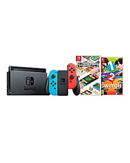 Nintendo Switch Neon + 1 2 Switch + 51 Worldwide Games
