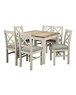 Ashdawn Extending Dining Table and 6 Dining Chairs