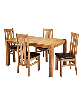 Hendon Oak Dining Table 4 Chester Chairs