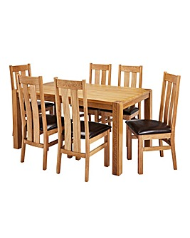 Hendon Oak Dining Table 6 Chester Chairs