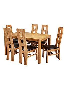 Hendon Oak Dining Table 6 Rutland Chairs
