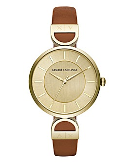 Armani Exchange Ladies Gold Face Watch