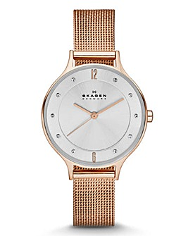 Skagen Ladies Diamante Mesh Strap Watch