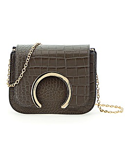 Croc Print Cut Out Cross Body Bag