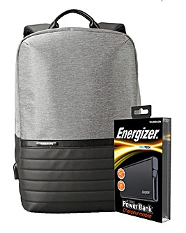 Energizer Power Bank Laptop Bag - Black/Grey