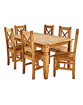 Corona Pine Dining Table Six Chairs
