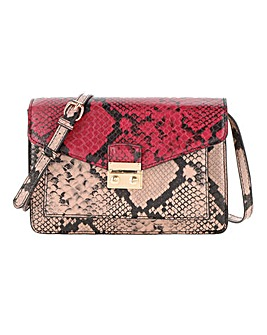 Snake Print Chunky Lock Cross Body Bag