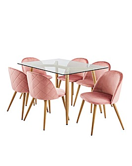 Monika Dining Table with 6 Klara Chairs