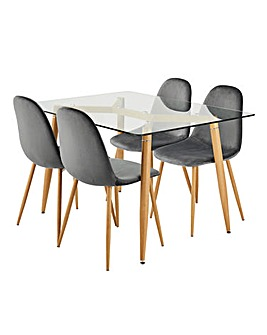 Monika Dining Table with 4 Annika Chairs