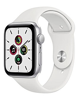 Apple Watch SE 44mm Silver Aluminium Case & White Sport Band