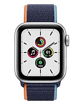 Apple Watch SE Cellular 44mm Silver Aluminium Case & Deep Navy Sport Band