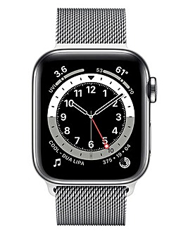Apple Watch Series 6 Cellular 44mm Silver Stainless Steel & Silver Milanese Loop
