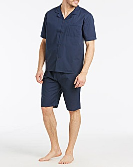 Navy Short Sleeve Plain Pyjama Set