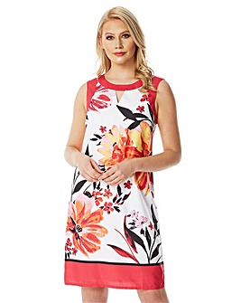 Roman  Floral Border Shift Dress