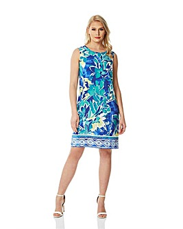 Roman Abstract Leaf Shift Dress