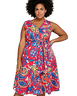 Monsoon Nelly Print Front Curve Dress