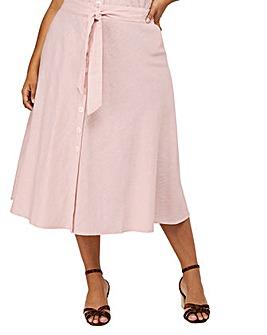 Monsoon Loretta Linen Midi Curve Skirt