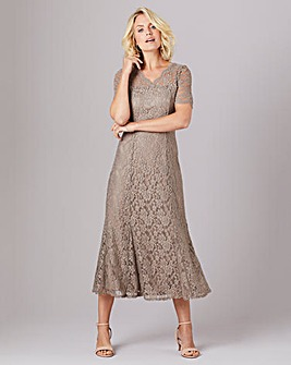Julipa Mocha Stretch Print Lace Fit and Flare Dress