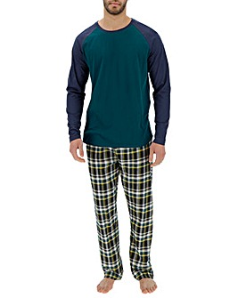 Navy Check Long Sleeve Pyjama Set