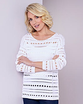 Julipa White Crochet Jumper