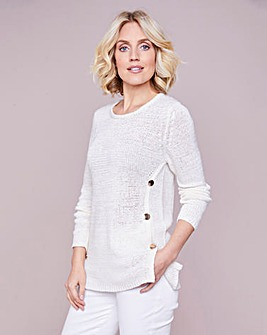 Julipa Ivory Tape Yarn Jumper with Buttons