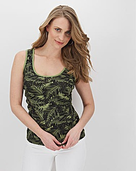 Julipa Khaki Print Value Rib Jersey Vest