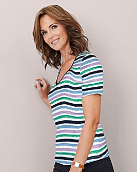 Julipa Value Stripe Rib V Neck T Shirt