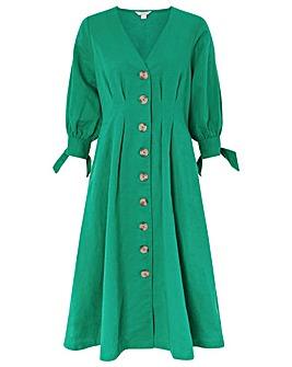 Monsoon Molly Linen Midi Button Dress