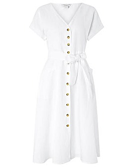 Monsoon Louise Linen Button Midi Dress