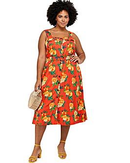 Monsoon Olga Print Pinafore Curve Dress