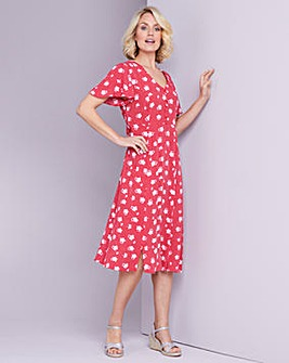 Julipa Red Floral Crinkle Mock Button Dress