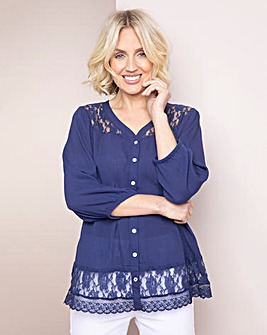 Julipa Lace Trim Crinkle Shirt