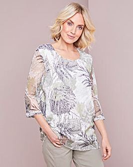 Julipa Printed Open Mesh Top