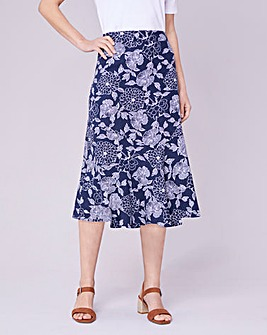 Julipa Linen Print Seamed Skirt 29""