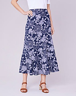 Julipa Linen Print Seamed Skirt 34""