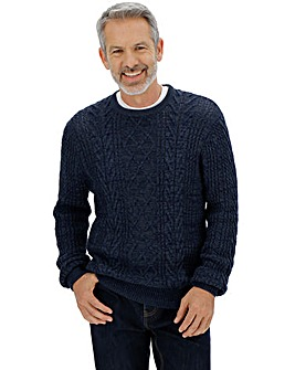 Navy Crew Neck Cable Jumper