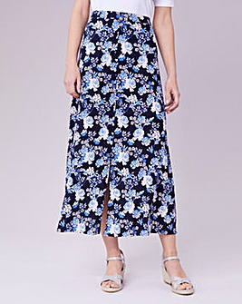 Julipa Blue Floral Button Through Skirt