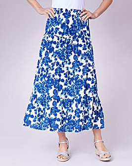 Julipa Blue Floral Tiered Printed Jersey Skirt